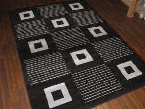 Modern Approxx 8x5 160x230cm Woven Backed Black/Silver Top Quality Squares Rugs